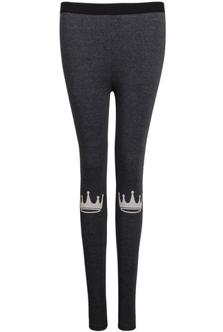Grey Slim Crown Print Leggings