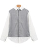 Grey Contrast Lapel Long Sleeve Loose Blouse