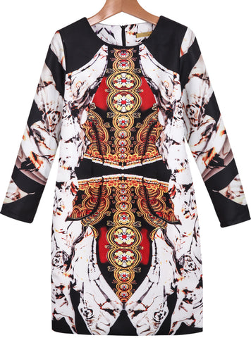 Black White Long Sleeve Vintage Floral Dress