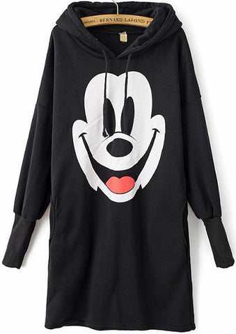 Black Hooded Long Sleeve Mickey Print Sweatshirt