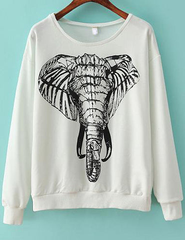 White Long Sleeve Elephants Print Sweatshirt