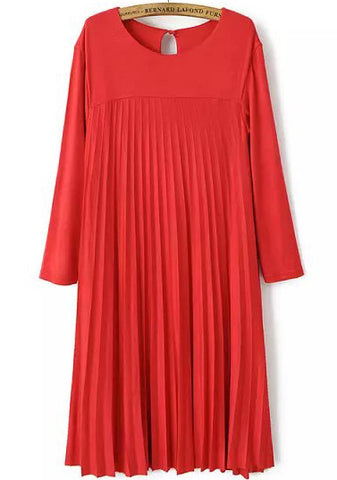 Red Long Sleeve Loose Pleated Dress
