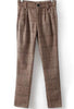 Khaki Pockets Plaid Woolen Pant