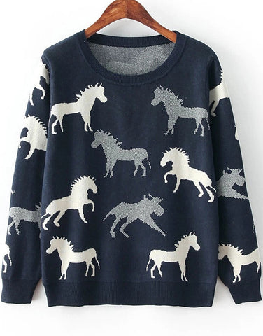 Navy Long Sleeve Horse Print Knit Sweater