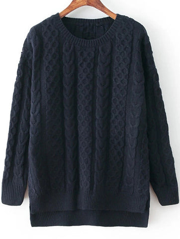 Navy Long Sleeve Dipped Hem Cable Knit Sweater