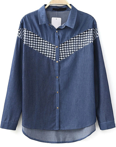 Navy Long Sleeve Hollow Denim Loose Blouse