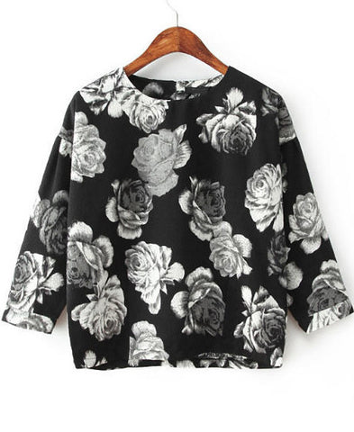 Black Long Sleeve Floral Loose Blouse