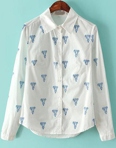White Blue Lapel Long Sleeve Elephants Print Blouse