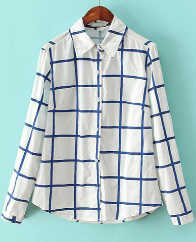 White Blue Lapel Long Sleeve Plaid Blouse