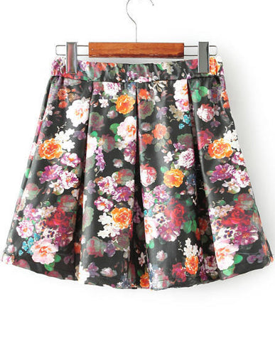 Black Floral PU Leather Pleated Skirt