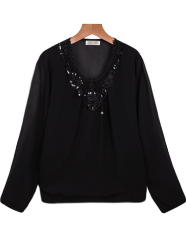 Black Long Sleeve Embroidered Chiffon Blouse