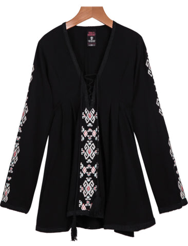 Black V Neck Long Sleeve Embroidered Blouse