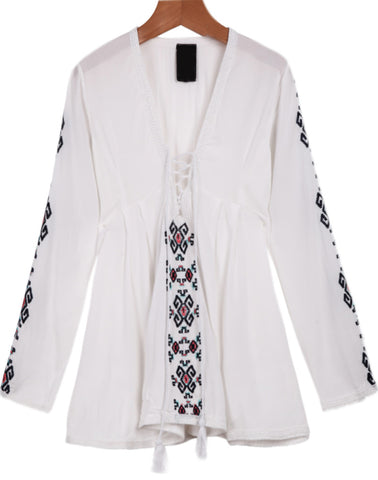 White V Neck Long Sleeve Embroidered Blouse