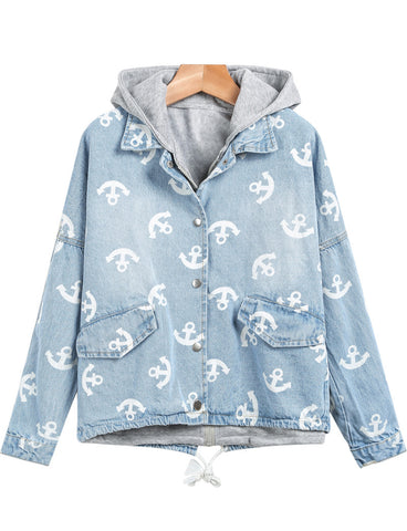 Light Blue Hooded Long Sleeve Anchors Print Jacket