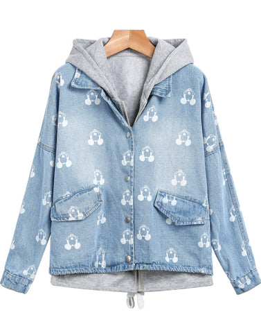 Light Blue Hooded Long Sleeve Mickey Print Jacket