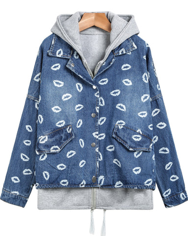 Blue Hooded Long Sleeve Lips Print Jacket