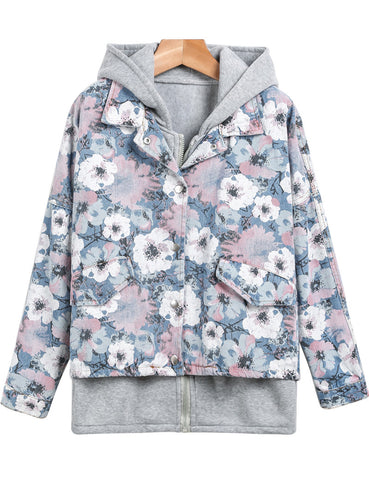 Blue Hooded Long Sleeve Floral Denim Jacket