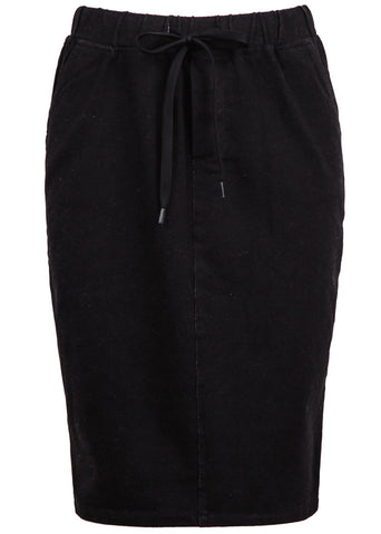 Black Drawstring Waist Bodycon Skirt