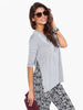 Grey Long Sleeve Side Split Casual T-shirt
