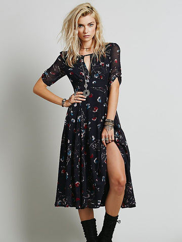 Black Short Sleeve Floral Print Split Dress