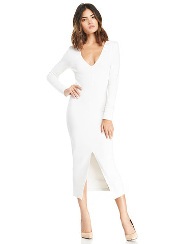 White Long Sleeve V Neck Split Maxi Dress