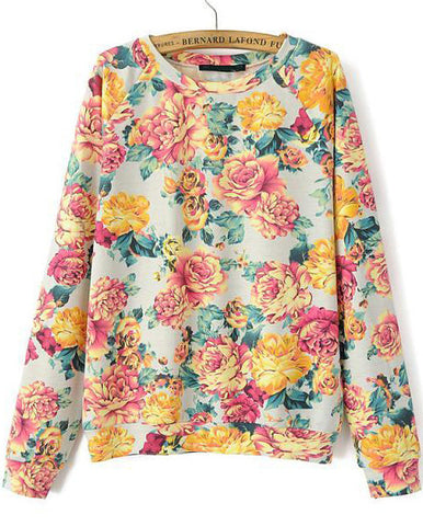 Green Long Sleeve Floral Loose Sweatshirt