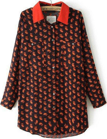 Red Lapel Long Sleeve Owl Print Blouse