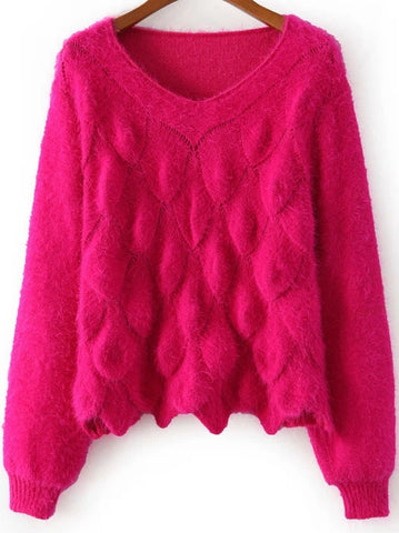 Red Long Sleeve Scales Pattern Mohair Sweater