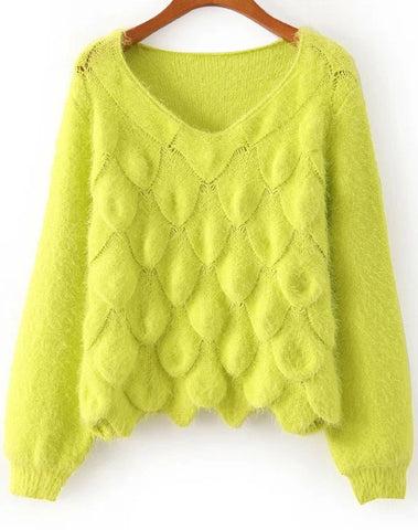 Neon Green Long Sleeve Scales Pattern Mohair Sweater