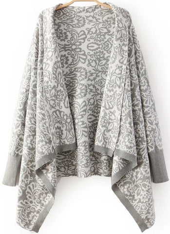 Grey Long Sleeve Totem Print Knit Cardigan