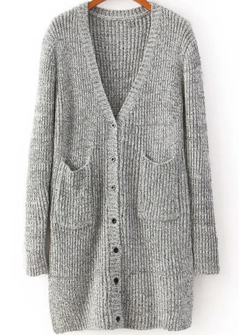 Grey V Neck Long Sleeve Pockets Cardigan