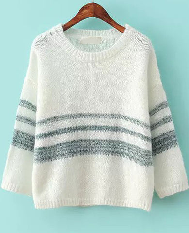 White Green Long Sleeve Striped Knit Sweater