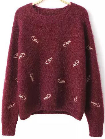 Wine Red Long Sleeve Fish Embroidered Sweater
