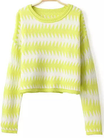 Yellow Long Sleeve Scalloped Striped Crop Sweater