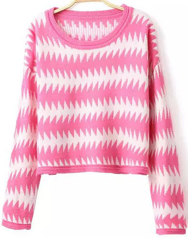 Pink Long Sleeve Scalloped Striped Crop Sweater
