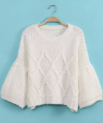 White Puff Sleeve Diamond Patterned Sweater