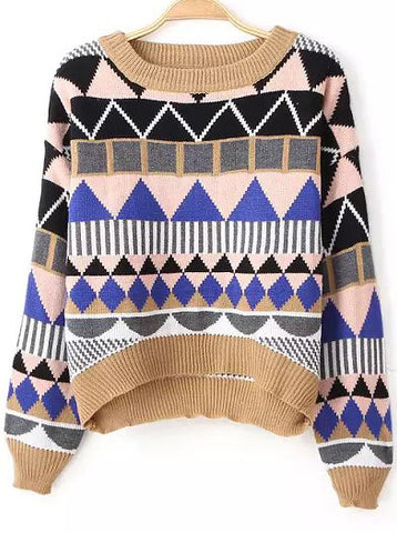 Yellow Long Sleeve Geometric Pattern Sweater
