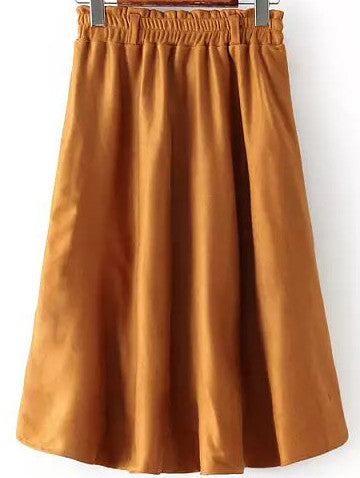 Camel Elastic Waist Pleated Skirt