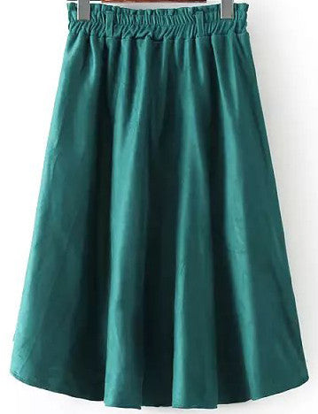 Green Elastic Waist Pleated Skirt