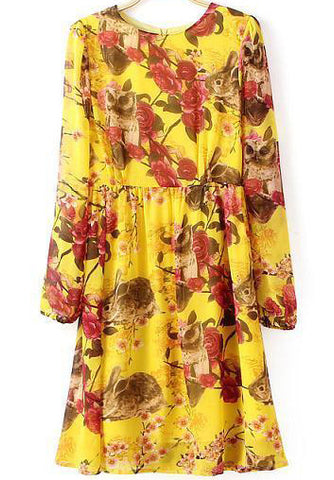 Yellow Long Sleeve Floral Pleated Chiffon Dress