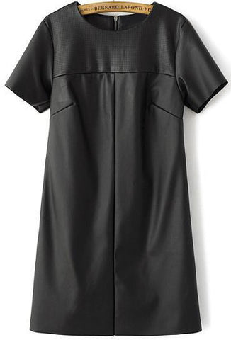 Black Short Sleeve Hollow PU Leather Dress