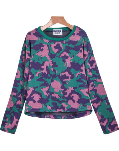 Green Long Sleeve Camouflage Crop Sweatshirt
