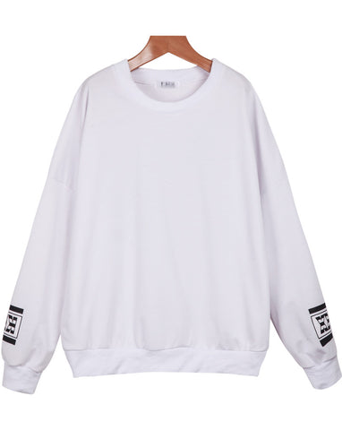 White Long Sleeve Letters Print Loose Sweatshirt