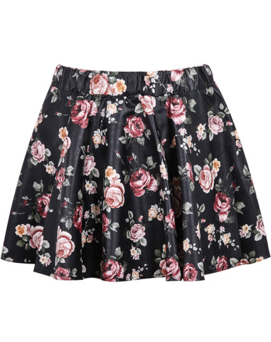 Black Floral Pleated PU Skirt
