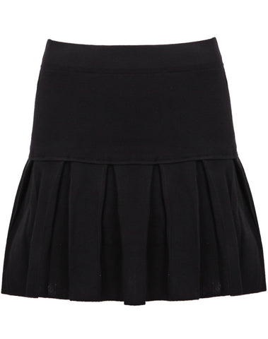 Black High Waist Pleated Knit Skirt