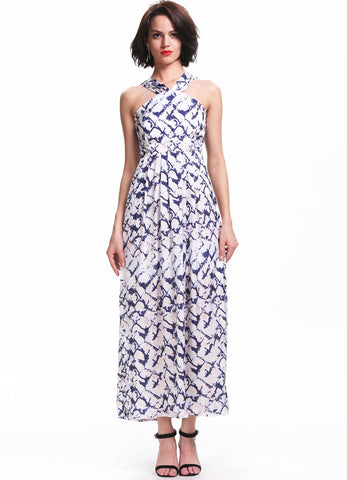 Blue White Spaghetti Strap Backless Floral Dress