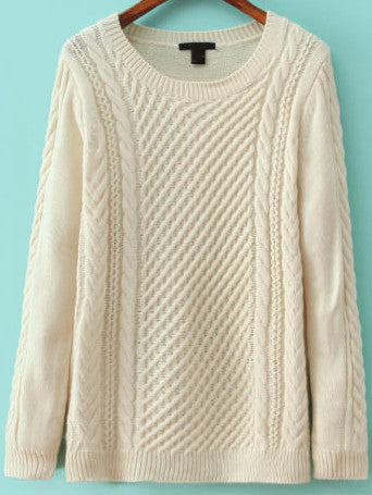 White Long Sleeve Cable Knit Sweater