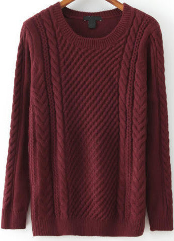 Red Long Sleeve Cable Knit Sweater