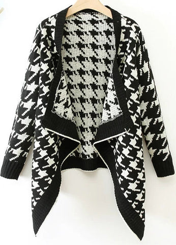 Black Long Sleeve Houndstooth Knit Cardigan