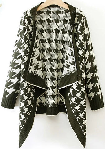 Green Long Sleeve Houndstooth Knit Cardigan